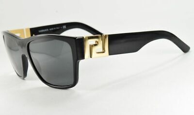Versace 4296 GB1/81 Black /w Gold / Gray Polarized Rectangle Sunglasses