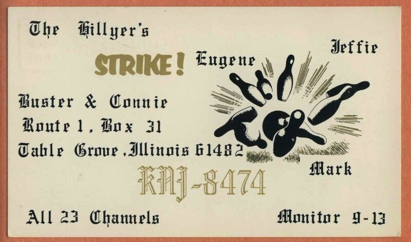 QSL Card ILLINOIS IL Table Grove KNJ8474 Buster Connie Eugene Jeff Mark Hillyer