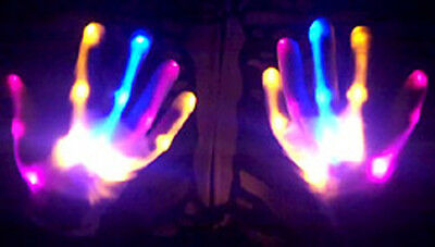 Electro Skeleton PINK BLUE ORANGE LED Light Up HALLOWEEN Dance Gloves Rave Party - Pink Skeleton Gloves