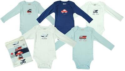 Baby Boys PACK OF 5 Long Sleeve Bodysuit Vests Cotton Tops Newborn to 3 Years