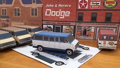 - Papercraft DODGE SPORTSMAN blue 1974 - 1977 Paper Model Van EZU-make