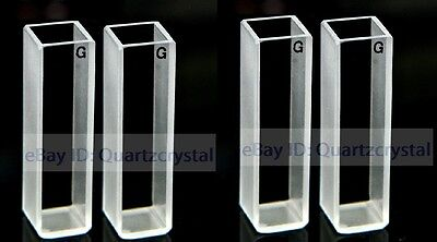 UV Quartz Cuvettes with PTFE Stoppers Pathlength: 10 mm; Chamber Volume: 3.5 ml; Two or Four-Sided Windows Four-Sided Windows, Qty:4