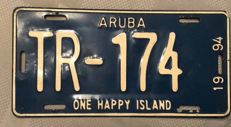"Aruba 1994 License Plate # TR-174.  ""One Happy Island"""