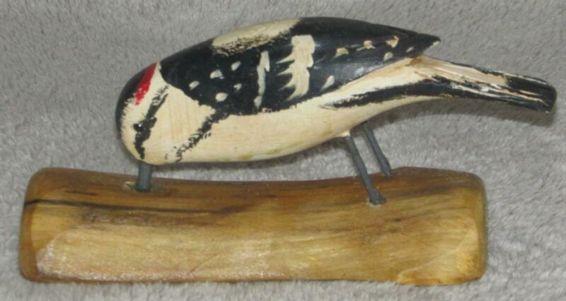 DOWNY WOODPECKER carved JIM SLACK Pekin IL BIRD Figure Wall Mount decoy carver