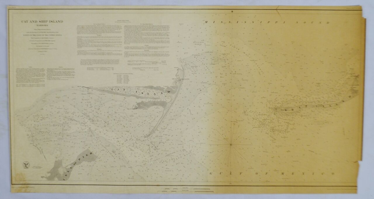 Authentic Antique 1850 Cat and Ship Island Harbors Nautical Chart