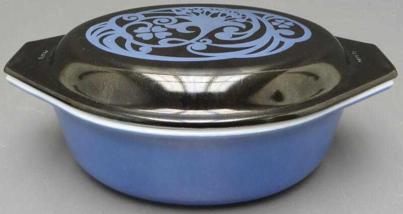 Vintage Pyrex Midnight Bloom Oval 1.5 QT Casserole Baking Dish Lid Blue Black a