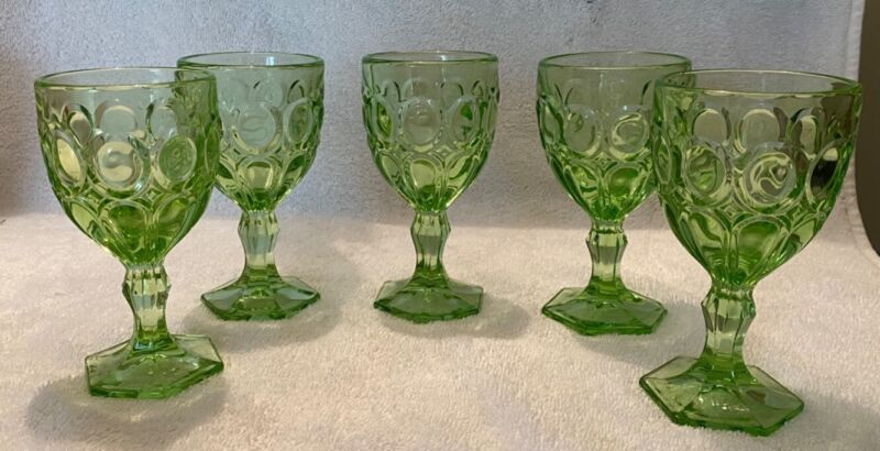 """Thumbprint Vintage Hexagon Footed Lime Green 5.5"""" Tall Water Glasses Set of 5"""
