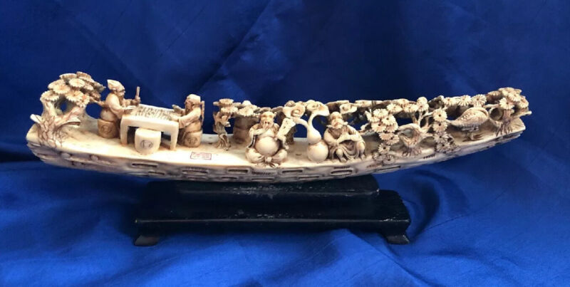 Antique Museum Quality HandCarved Horn Boat Gods Design 1 of a Kind Marked RARE