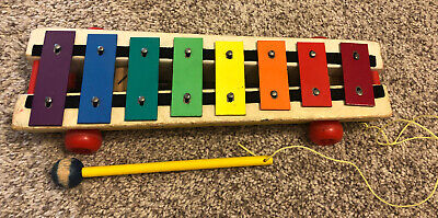 Vintage 1964 Fisher Price Pull a Tune Wooden Xylophone
