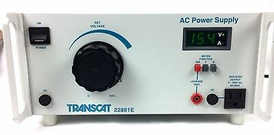Transcat 22881e Ac Power Supply 0-150vac 4a With Volt Amp Leakage Display.