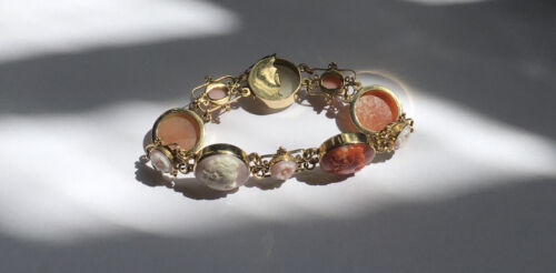 Vintage 14k Gold Coral Cameo Bracelet Victorian Styled