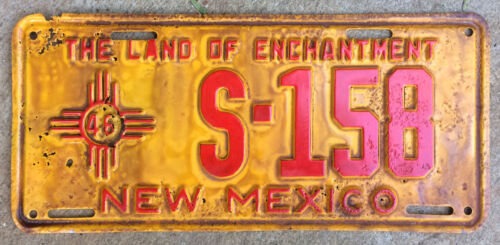 New Mexico 1946 license plate school bus S-158