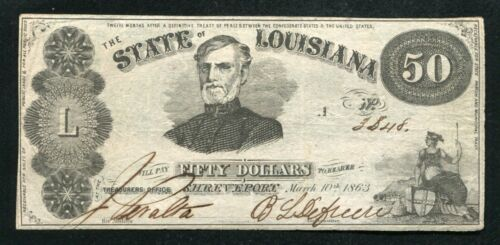 1863 $50 THE STATE OF LOUISIANA SHREVEPORT, LA OBSOLETE CURRENCY NOTE
