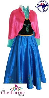 Adult Frozen DELUXE Anna Fancy Dress Gown Snow Queen Costume Size 4 - 18 AU