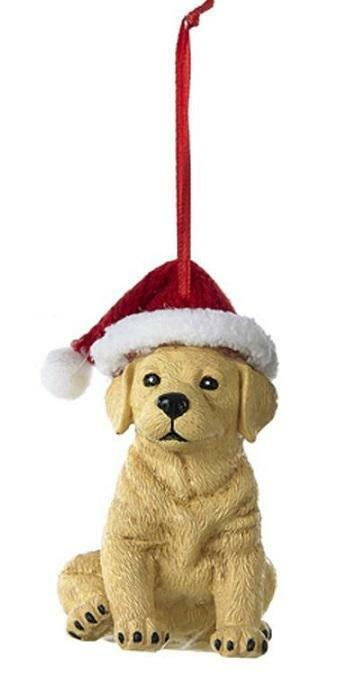 Finely Detailed YELLOW LAB Labrador Retriever Santa Hat Ornament ADORABLE!
