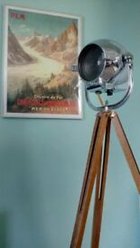 Original Strand 123 theatre light including new Vintage style wooden tripod