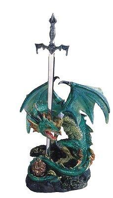 5.5 Inch Green Dragon Standing w/ Sword on Rock Figurine Figure Statue Fantasy