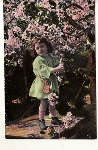 CHILDREN-CUTE-GIRL-under-FLOWERING-TREE-1909-postcard