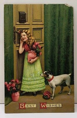 Best Wishes Girl Eavesdrops at Door with Dog Chambersburg Penna Postcard (Best Doggy Doors)