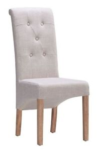 BEIGE AND GREY FABRIC TUFTED DINING CHAIR