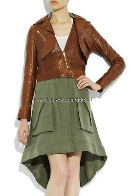 [Alexander Wang] Lamb Leather Jacket with Removable Canvas Skirt Sz US 0  NWT