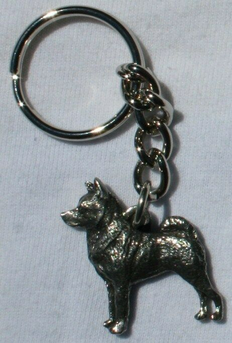 NORWEGIAN ELKHOUND Dog Fine Pewter Keychain Key Ring New
