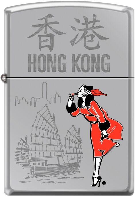 Zippo Windy Girl Traveling Cities Hong Kong High Polish Chrome New Rare