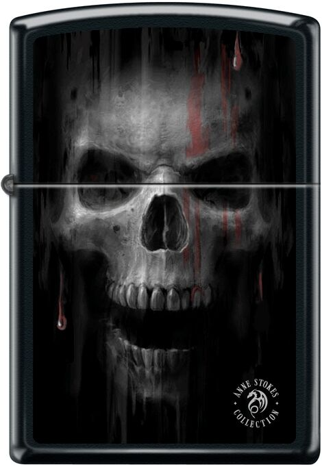 Zippo Anne Stokes Collection Skull With Blood Black Matte New Rare