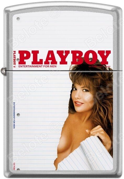 Zippo Playboy October 1987 Cover Satin Chrome Windproof Lighter NEW RARE