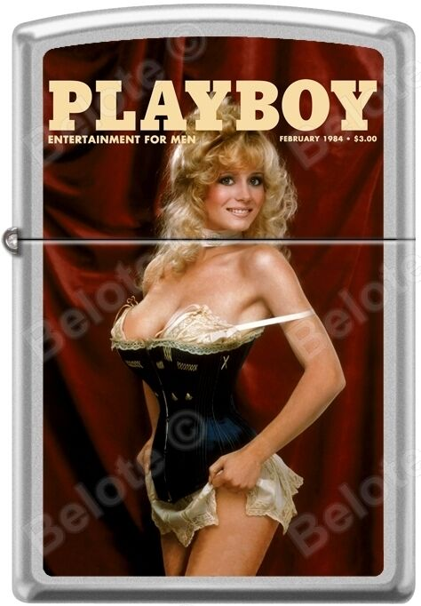 Zippo Playboy February 1984 Cover Satin Chrome Windproof Lighter NEW RARE