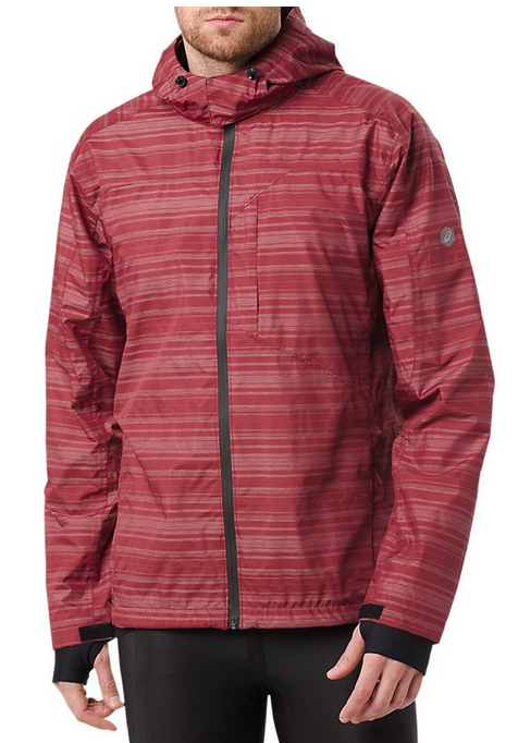 Asics Men's Medium Burgundy Zip Front Jacket Hooded Rain Coa