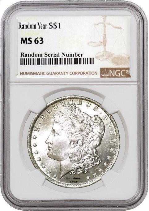 Random Year (1878 - 1904) $1 Morgan Silver Dollar NGC MS63