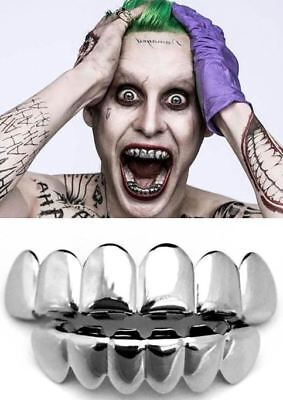 14K White Gold Suicide Squad Joker Halloween Fake Silver Teeth Grillz Set - Fake Teeth Grillz