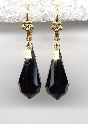 Onyx Jet Black cut-crystal BRIOLETTE Teardrop EARRINGS 14K Gold gp *Vtg Czech