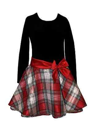 NWT BONNIE JEAN BLACK VELVET & RED PLAID PARTY DRESS GIRLS PLUS SIZE 20 1/2 - Girls Dresses Size 20