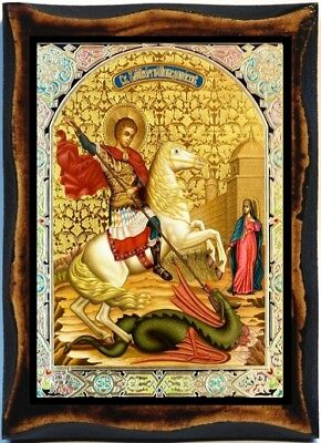 (George St. - Saint George and the Dragon handmade wood icon on plaque)