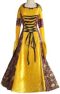 Damen Lang Deluxe Gold Burgund Mittelalterlich Renaissance Kostüm Kleid Outfit (Alte Dame Outfits)