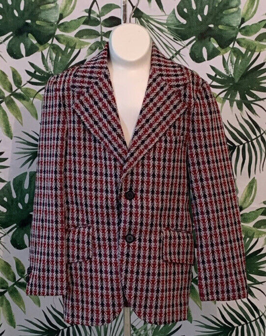 1970s Boys Sportcoat  Red Houndstooth Two Button Jacket Blazer VTG Childrens