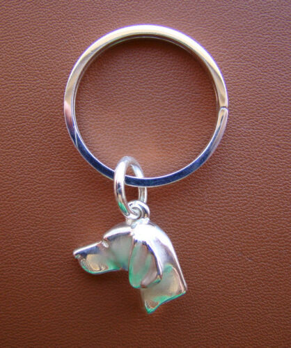 Large Sterling Silver Vizsla Key Ring