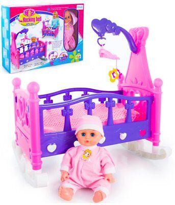 Puppenwiege Puppenbett mit Puppe Mobile Decke Bett KP2957