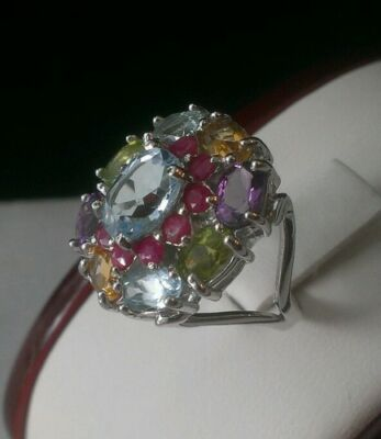 (NEW⭐HUGE STERLING SILVER GENUINE MULTI STONE AMETHYST PERIDOT TOPAZ RUBY RING7.5)
