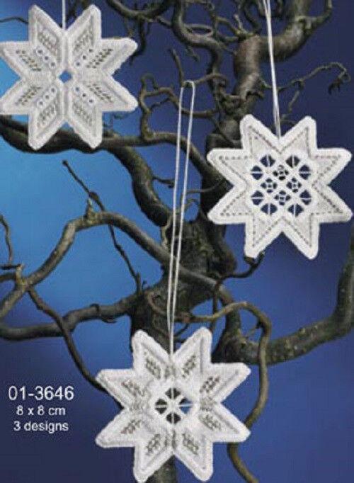 Christmas Star Hardanger Ornaments Kit 01-3646 - Permin Of Copenhagen Kit