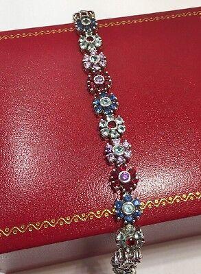 "Sterling Silver Multi Gemstone Ruby Sapphire Topaz Flower Tennis 925 Bracelet 7"""