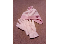 pink hat and gloves set age 8-10