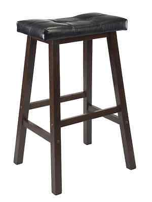 """New Wood Kitchen Counter 1 Bar Stool Seat Black Leather Modern Stools 29"""" Inch"""