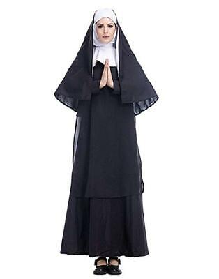 Nun Costume Women (Womens Plus Size Nun Costume Halloween 3 Pieces Cosplay Mother Roleplay)