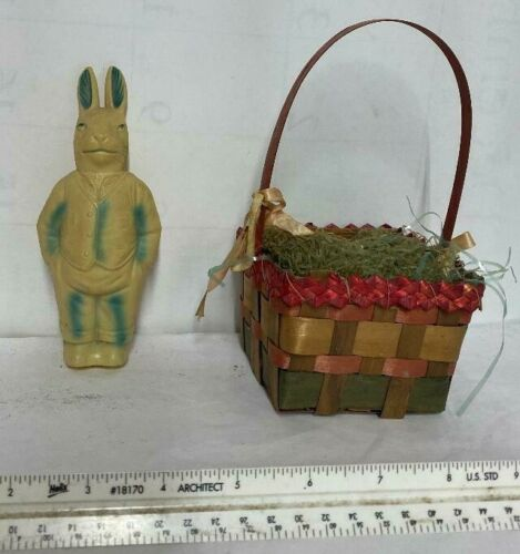 LOT 2 Vintage Easter Celluloid Rabbit and Woven Basket