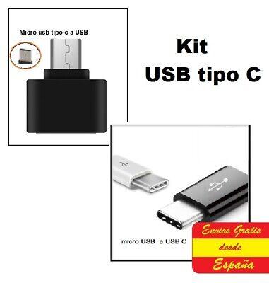 Adaptador de micro USB a USB 3.1 tipo C 2und. + adap....