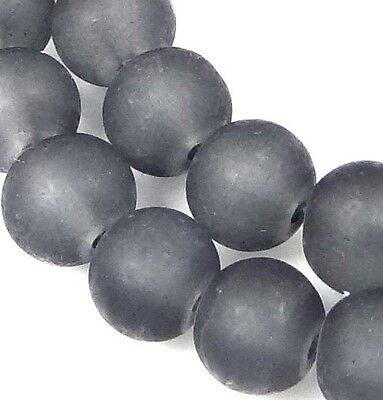 25 Frosted Sea Glass Round Beads Matte - Montana Gray 8mm
