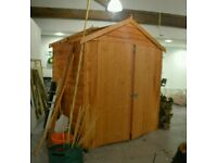BRAND NEW: 6 X 4 OVERLAP DOUBLE DOOR APEX GARDEN SHED